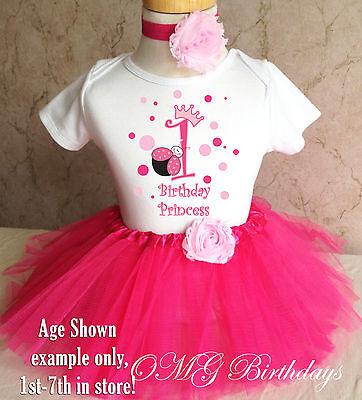 Pink Princess Ladybug Crown 1st First Birthday Tutu Outfit Shirt Set Party Dress