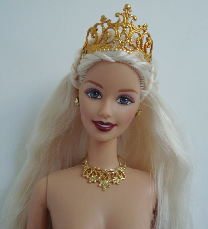 Barbie Doll Princess W/ Gold Metal Crown & Accessories Stunning! NUDE NEW!