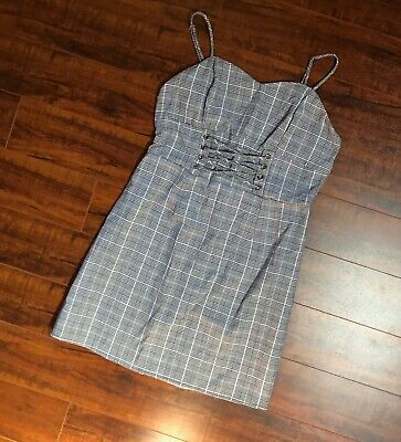 VTG Plaid Black White Bodice Corset Punk School Girl Goth Steampunk Dress S/M