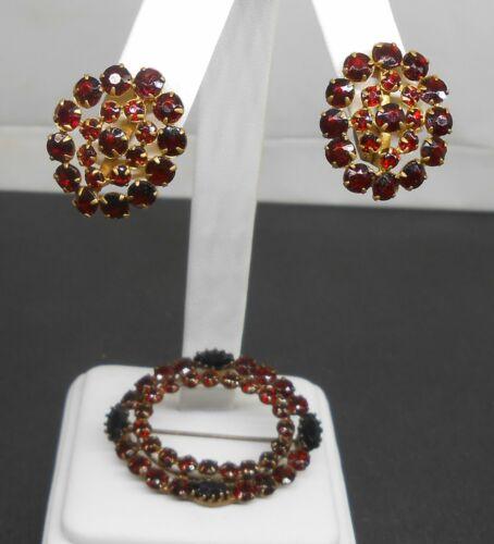 Lovely Antique Red Garnet Rhinestone Brass Brooch & Earrings Set Czechoslovakia