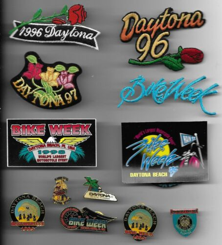 LARGE COLLECTION OF DAYTONA BIKE WEEK PATCHES DECALS AND PINBACKS