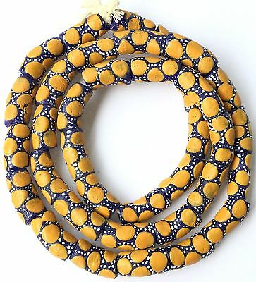 Ghana African Matched Yellow polka dot Recycled glass trade beads