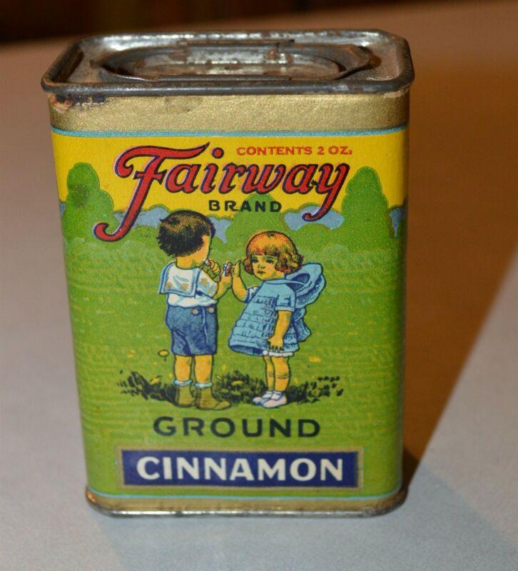 Antique Fairway St. Paul MN Cinnamon Spice Tin Little Girl & Boy