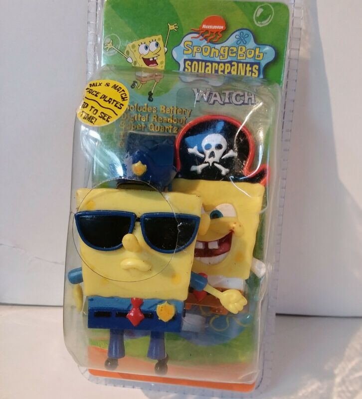 SpongeBob SquarePants Watch Nickelodeon 2002 New In Package Pirate and Police