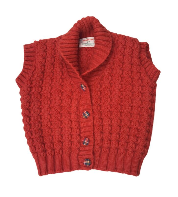Vintage Health-Tex Knitted Red Vest Toddler 2T Plaid Buttons