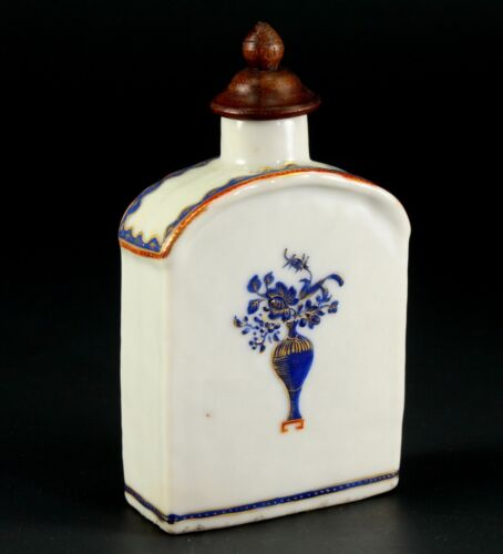 "~1735-1796 QIANLONG Qing Chinese Fine Porcelain Tea Caddy Blue, Red & Gold 3.9"""