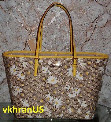 $348! MICHAEL KORS Jet Set Travel MK Signature Citrus Floral Large Carryall Tote