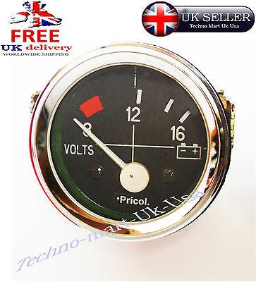 52MM CAR AUTO MECHANICAL VOLT VOLTMETER VOLTAGE METER GUAGE CLOCK CHROM 8~16 BAR