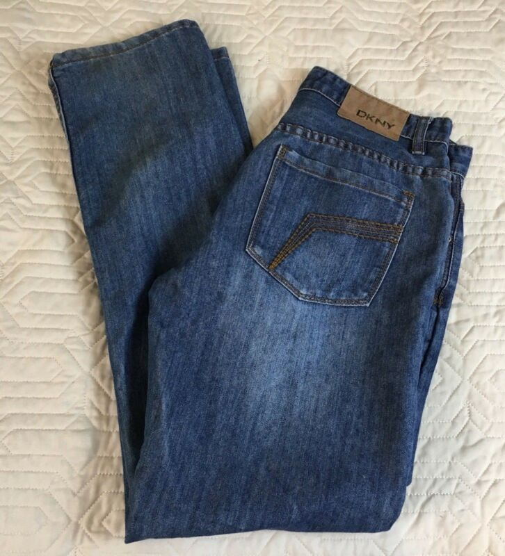 Dkny Straight Leg Blue Jeans Relaxed Medium Wash Cotton Polyester Size 20