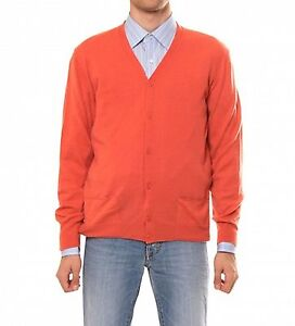 $1300 Authentiv New Men's Bottega Veneta Orange Cashmere Cardigan-size 48