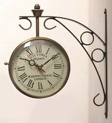 Clock Station Double side dodge Victoria Vintage Brass Antique wall 12 inch Gold