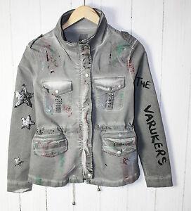 EU-Queen-giacca-tg-M-Graffit-punk-military-stile-elasticizzato-grigio