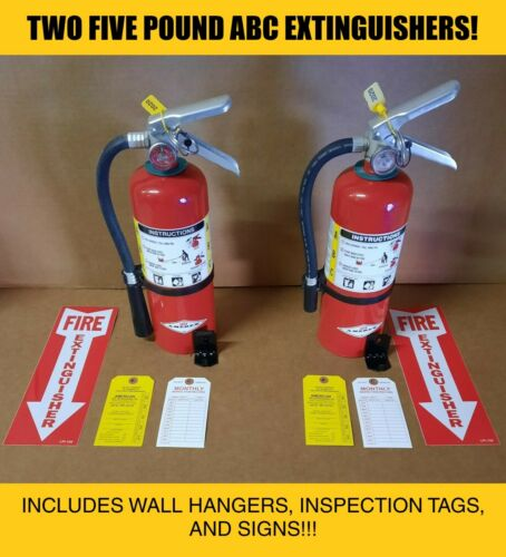 Fire Extinguisher - 5Lb ABC Dry Chemical Lot of 2 [SCRATCH&DENT]
