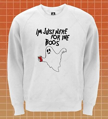 Here For Boos Sweatshirt Drunk Halloween Party Jumper Funny Slogan Spirit Top - Slogans For Halloween