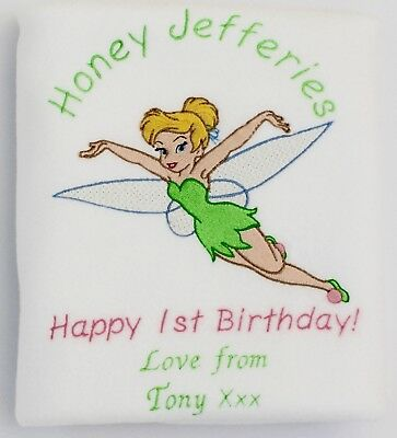 Tinkerbell 1st Birthday (Tinkerbell Personalised Baby Girl Blanket Christening, 1st Birthday, Baby)