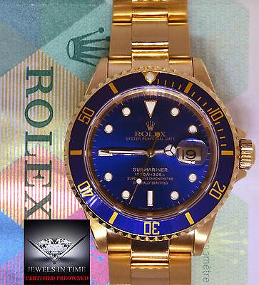 Rolex Submariner 18k Yellow Gold Blue Dial/Bezel Mens Dive Watch +Box 16618