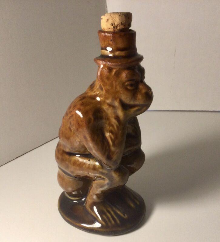 Roseville Pottery Majolica Glaze Thinking Monkey Bottle Original Cork Antique