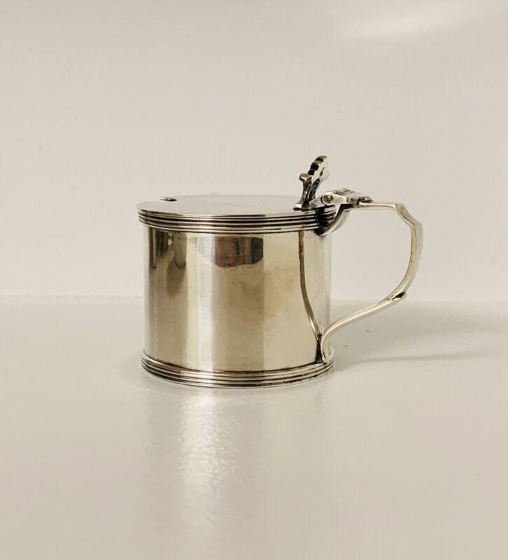 Peter Guille LTD. Mustard Pot With Cobalt Glass Liner.