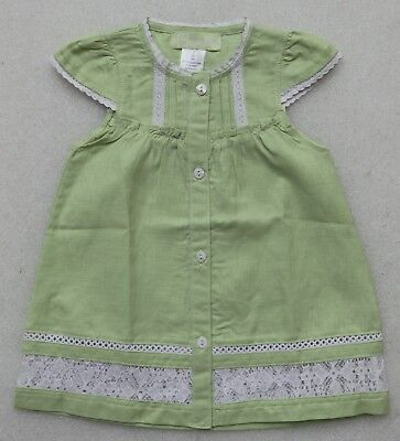 BUMBLE TODDLER GIRL'S DRESS COTTON/LINEN BLEND GREEN BUTTON FRONT BOUTIQUE - Toddler Boutiques