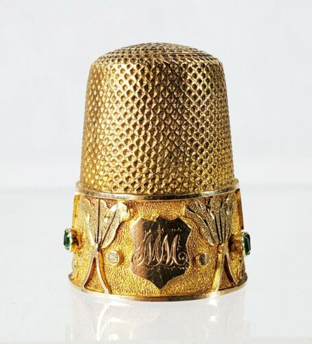 Fine Antique Gold Jeweled Thimble with Gemstones and Original Leather Case