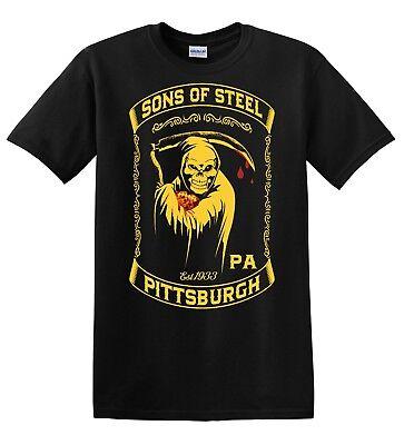 Pittsburgh Steelers Sons Of Steel Mens Black Tee Shirt Nfl Football Handmade 2A