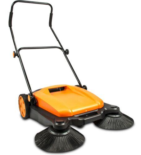 """Floor Twin Sweeper, Dual Side Brooms,26"""" Walk-behind Outdoor and Indoor Sweeper"""