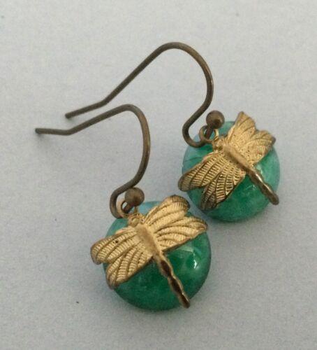 Damselfly Earrings Green Peking Glass W Wrapped Dragonflies Art Nouveau Earrings