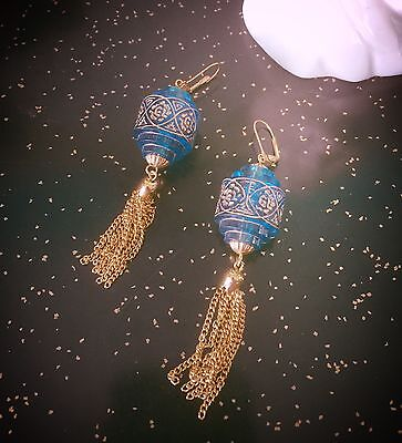 Retro Dangle Earrings Chinese Lanterns 40s 50s PinUp Rockabilly Blue VLV