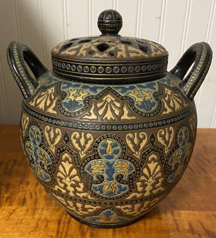 Wilhelm Schiller & Son Rare Antique Majolica Potpourri Jar - c 1860's - W/LID
