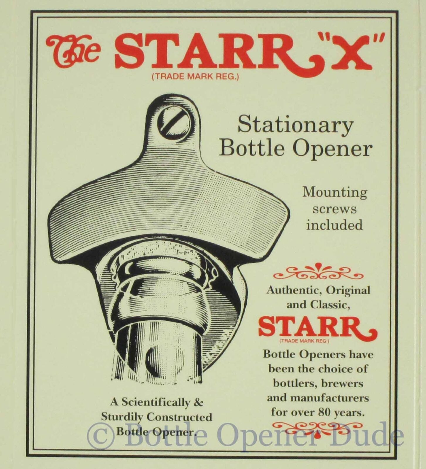 POLISHED STAINLESS STEEL Starr X Wall Mount Bottle Stationary Opener NEW!
