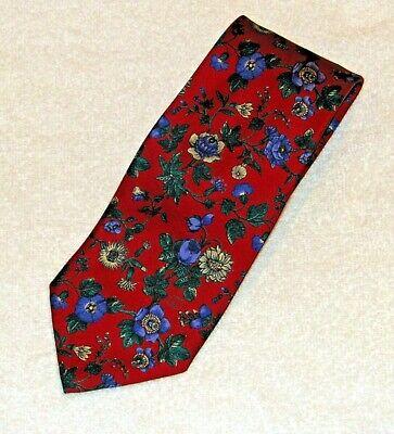 """Vintage Gucci Men's Necktie Red """"Flowers"""" Silk Tie"""