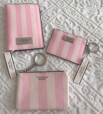 Victorias Secret Pink Striped Passport Holder Keychain Coin Pouch Credit Cards