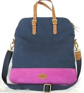 NEW-FOSSIL-TAYLOR-FAB-NAVY-BLUE-MAGENTA-BROWN-CANVAS-CROSSBODY-TOTE ...