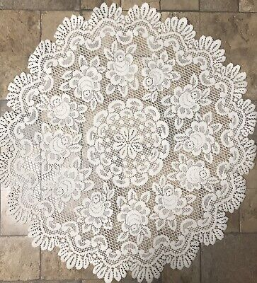 """Heritage Lace Off White Tablecloth/Topper -36"""" Round"""