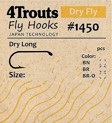 FLY HOOKS for Dry Fly 1x Long 100pcs fly tying hook 4Trouts #1450  (Long Dry Fly Hook)