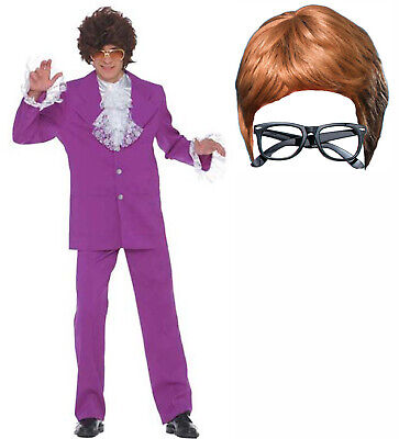 Austin Powers MoJo Groovy Man Mens 60s Stag Fancy Dress Costume Wig + Glasses - Austin Powers Wig