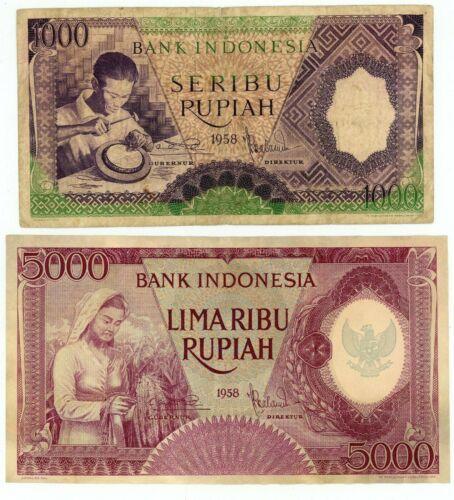 Indonesia  ... P-62,64 ... 1000-5000 Rupiah ... 1958  ... *F-VF to AU*.