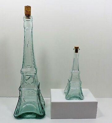 - 2 Eiffel Tower Bottles Tall & Short Green Clear Glass