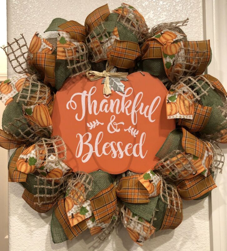 "Farmhouse THANKFUL & BLESSED 🍁 BURLAP Deco Mesh WREATH Fall HARVEST 22"" X 22"""