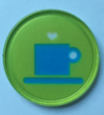 COFFEE CUP PLASTIC TOKEN - 'CRYSTAL' PRINTED DESIGN - BAG OF 100 - CAFE, FETES