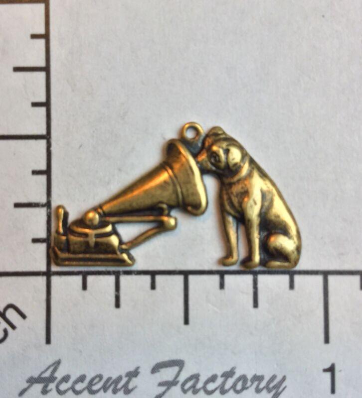 40823        2 Pc  Brass Oxidized Dog w/Vintage Victrola Charm Jewelry Finding