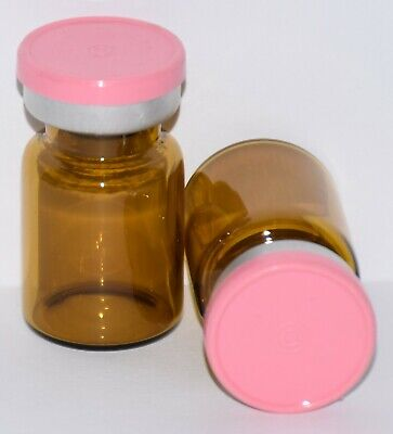 Usp 5 Ml Amber Sterile Vial With Baby Pink Plain Flip Top Seal Any Qty
