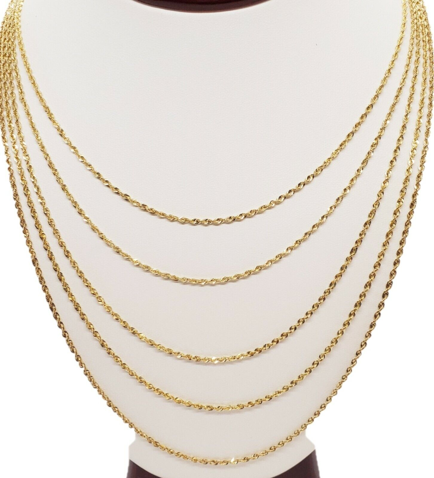 10K Solid Yellow Gold Necklace Gold Rope Chain 16″ 18″ 20″ 22″ 24″ 26″ 28″ 30″ Fine Jewelry
