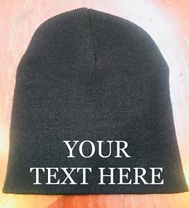Custom Embroidered BEANIE KNIT Skull CAPs Hats  Embroidery Personalized