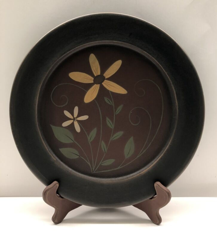 """Hand Painted Folk Art 13"""" Wooden Plate & Stand By Michelle L. Kildow Primitive"""