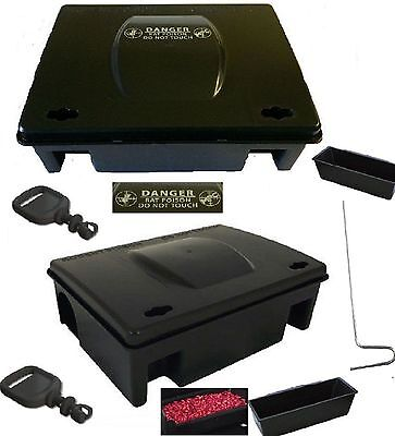 2 x RAT BAIT STATION RODENT POISON BOXES MICE PEST CONTROL BAIT BOX TRAP