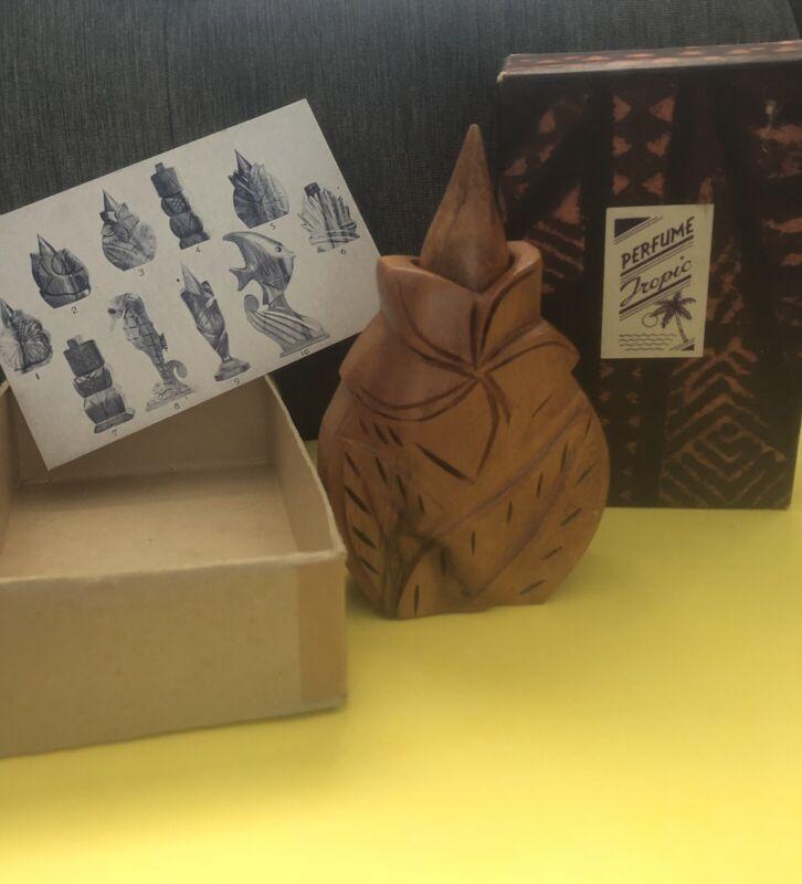 Tiki Hawaiian Perfume Bottle Mid Century John Oya Monkey Pod W Box