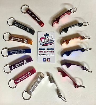 2 CUSTOM ENGRAVED KEY CHAIN BOTTLE/CAN OPENERS Sports, Teams, Logos, Names etc. ](Key Bottle Openers)