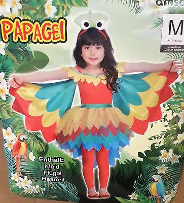 Mädchenkostüm Papagei Kostüm Kinder Karneval Fasching Halloween Fantasy Märchen