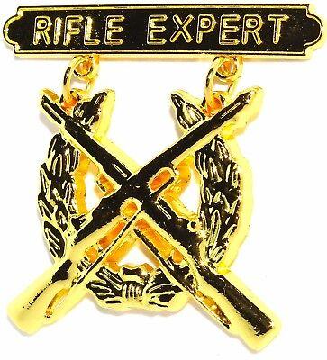 US MARINE CORPS GOLD RIFLE QUALIFICATION EXPERT SHOOTING BADGE PIN - Marine Corps Shooting